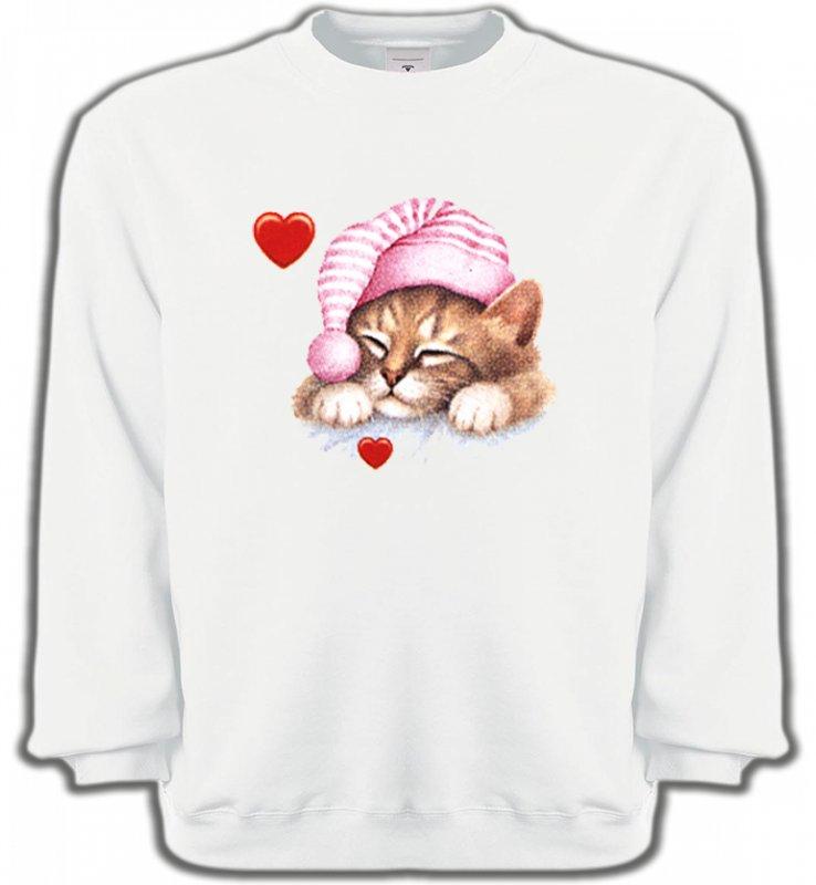 Sweatshirts UnisexeRaces de chatsChaton avec bonnet rose (S2)