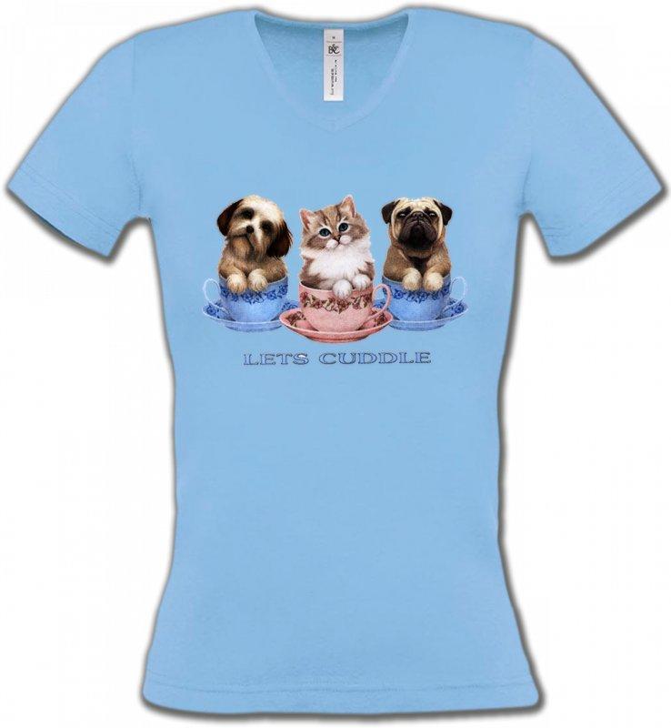 T-Shirts Col V FemmesRaces de chatsChatons et Chiots (M)