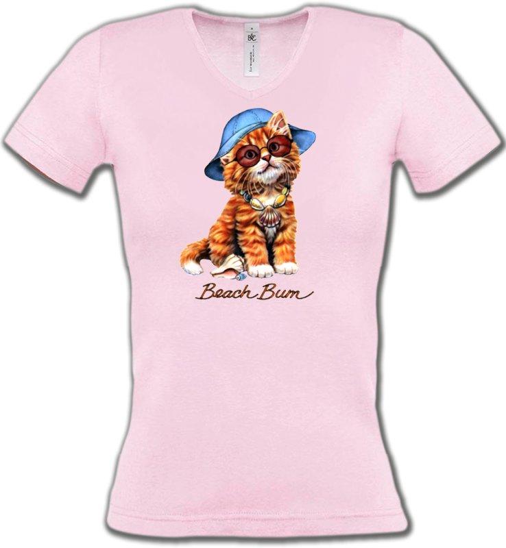 T-Shirts Col V FemmesRaces de chatsChaton tigré roux  (W)