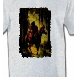 T-Shirts T-Shirts Col Rond Unisexe Indien dans la forêt (L)