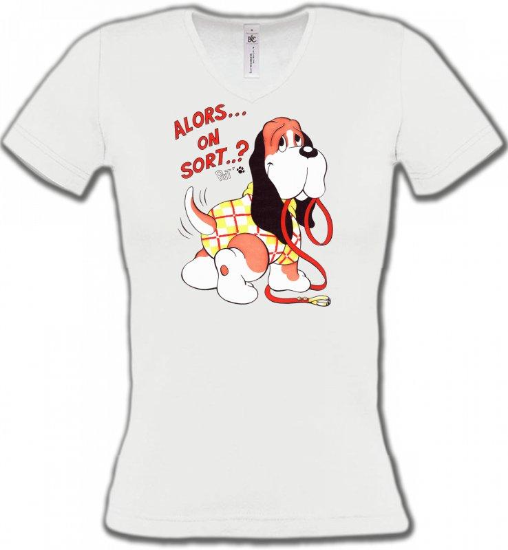 T-Shirts Col V FemmesHumour/amourBasset Jaune (E)
