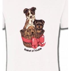 T-Shirts Enfants Chiots dans un panier (L)