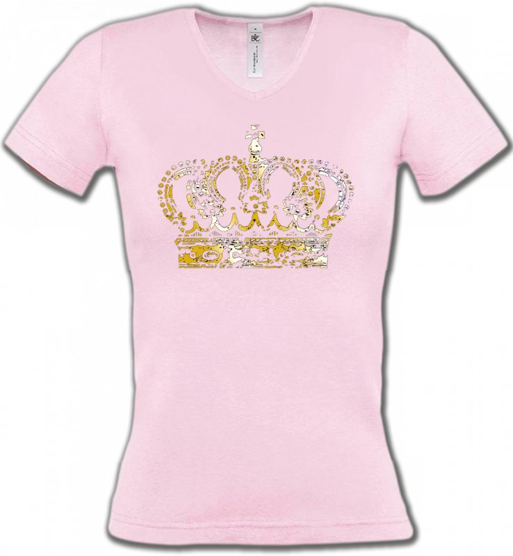 T-Shirts Col V Femmes Strass & Paillettes Strass Couronne 2