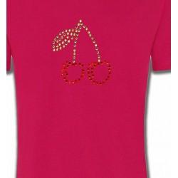 T-Shirts Strass & Paillettes Strass Cerises