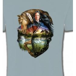 T-Shirts Indien et Amérindiens Indien et cheval (M)