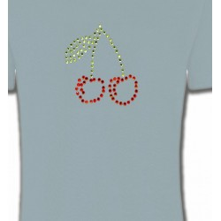 T-Shirts Strass & Paillettes Strass Cerises