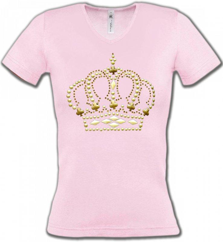 T-Shirts Col V FemmesStrass & PaillettesStrass Couronne 3
