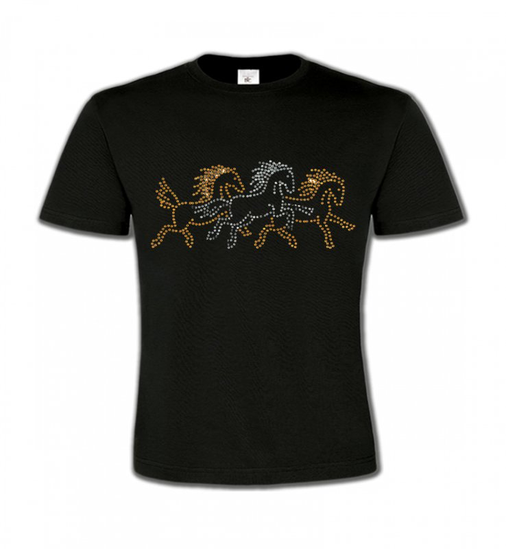 T-Shirts Col Rond EnfantsStrass & PaillettesChevaux strass