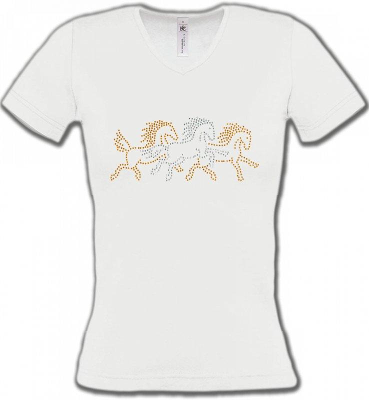T-Shirts Col V FemmesStrass & PaillettesChevaux strass