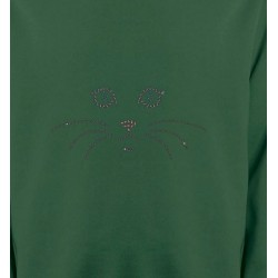 Sweatshirts Strass & Paillettes Chat en Strass