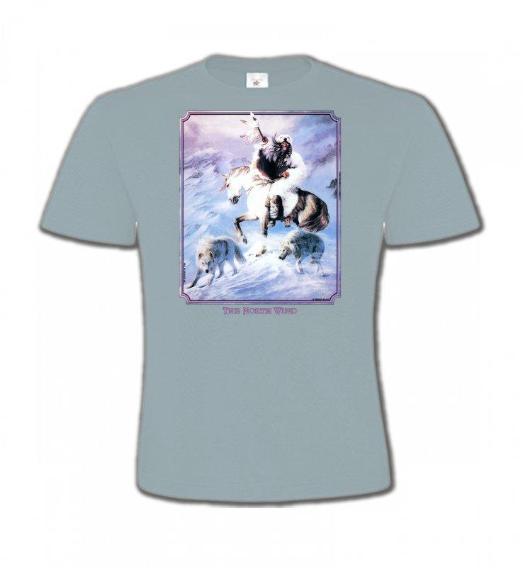 T-Shirts Col Rond EnfantsIndien et AmérindiensIndien et loup (P2)