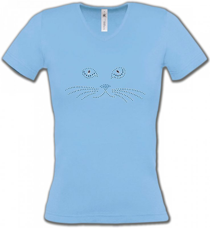 T-Shirts Col V Femmes Races de chats Strass Chat bleu