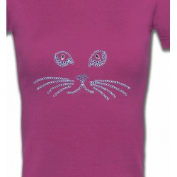 T-Shirts Races de chats Strass Chat bleu