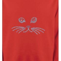 Sweatshirts Strass & Paillettes Strass Chat bleu