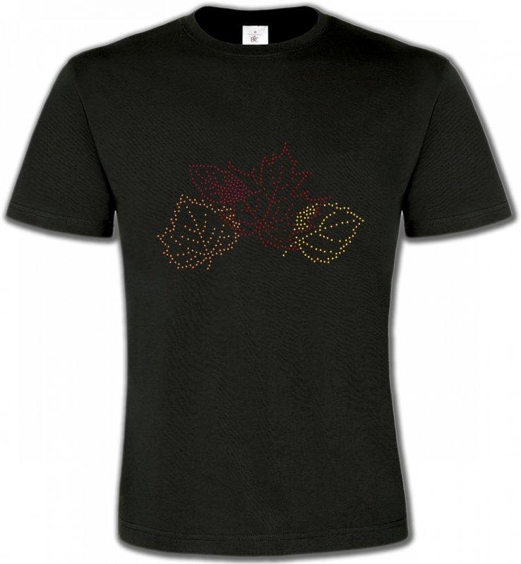 T-Shirts Col Rond UnisexeStrass & PaillettesStrass feuilles d'arbre