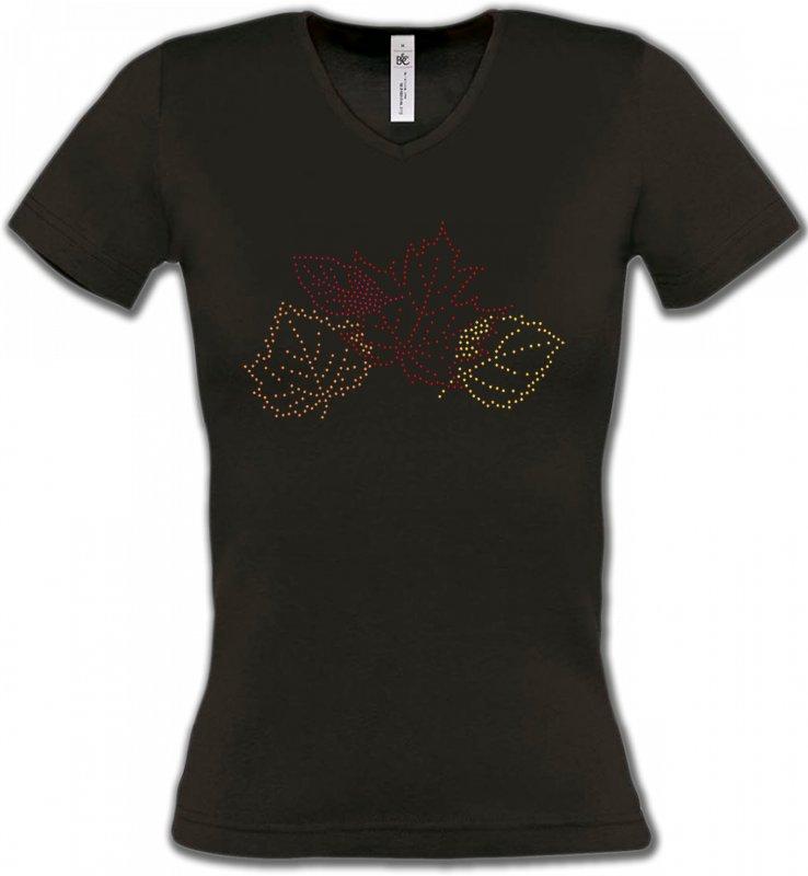 T-Shirts Col V FemmesStrass & PaillettesStrass feuilles d'arbre