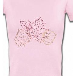 T-Shirts Strass & Paillettes Strass feuilles d'arbre