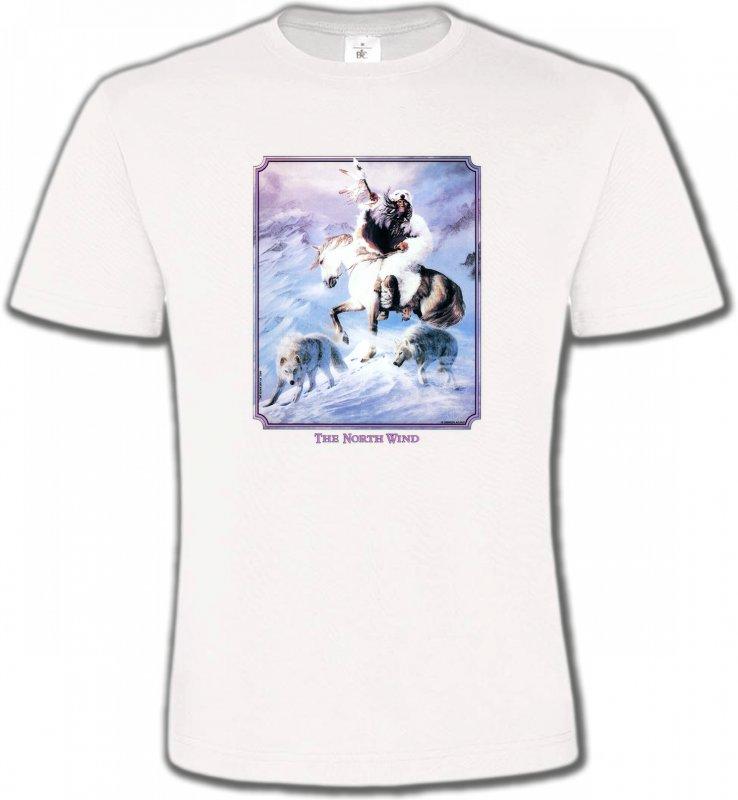 T-Shirts Col Rond UnisexeIndien et AmérindiensIndien et loup (P2)