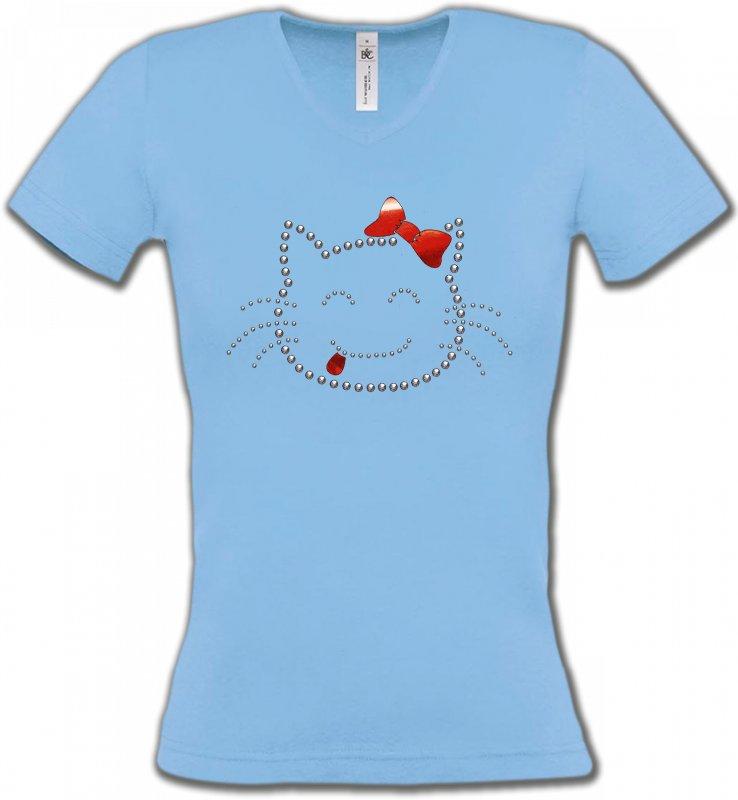 T-Shirts Col V FemmesRaces de chatsHello Kitty