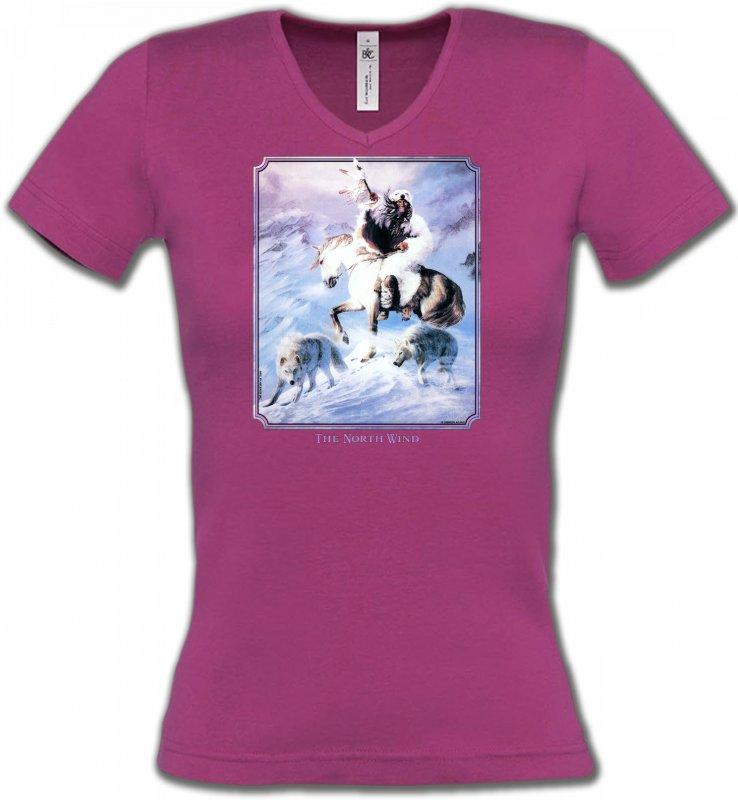 T-Shirts Col V FemmesIndien et AmérindiensIndien et loup (P2)
