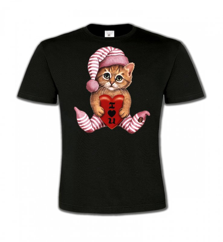 T-Shirts Col Rond EnfantsRaces de chatsChaton en pyjama  (L3)