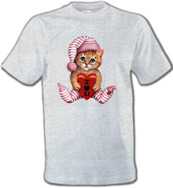 T-Shirts Col Rond UnisexeRaces de chatsChaton en pyjama  (L3)