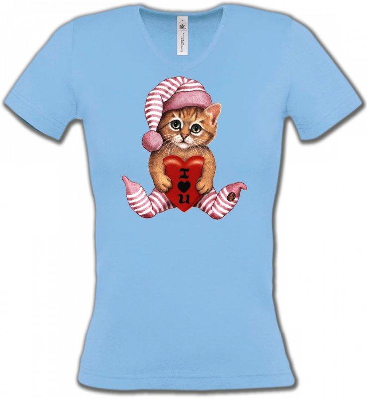 T-Shirts Col V FemmesRaces de chatsChaton en pyjama  (L3)