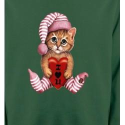 Sweatshirts Saint-Valentin Chaton en pyjama  (L3)