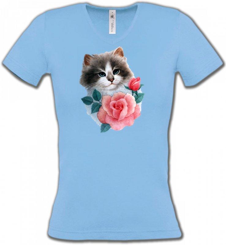 T-Shirts Col V FemmesRaces de chatsChat Ragdoll et rose