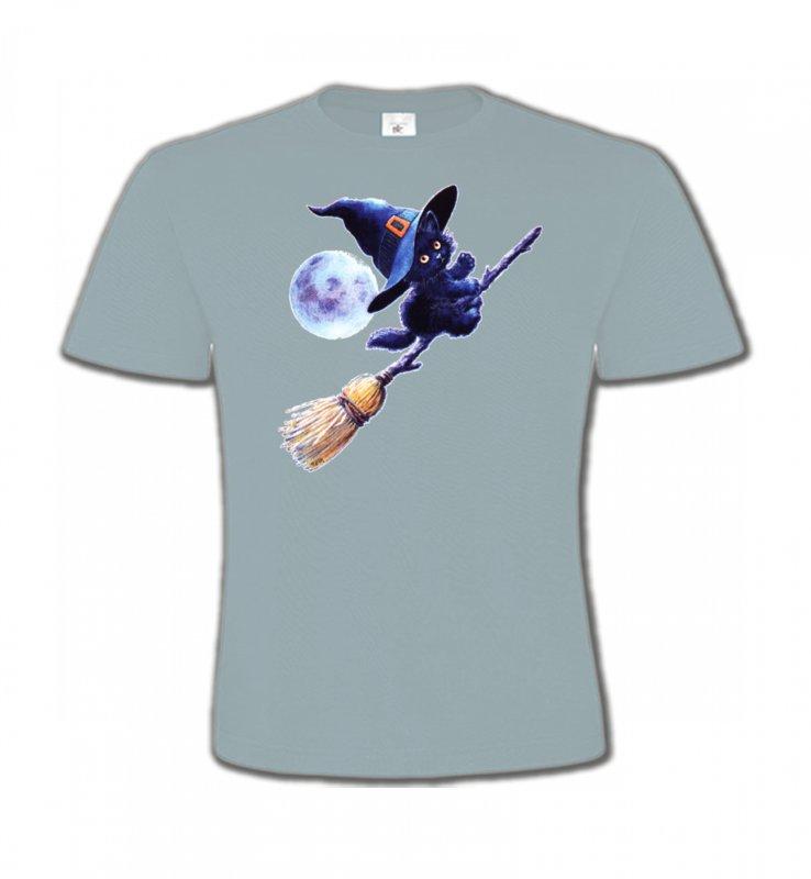 T-Shirts Col Rond EnfantsRaces de chatsapprenti  sorcière Chaton noir Halloween (Z)