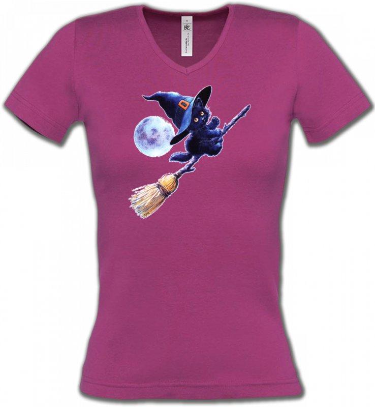 T-Shirts Col V FemmesRaces de chatsapprenti  sorcière Chaton noir Halloween (Z)