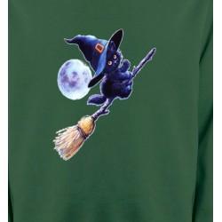 Sweatshirts Halloween apprenti  sorcière Chaton noir Halloween (Z)