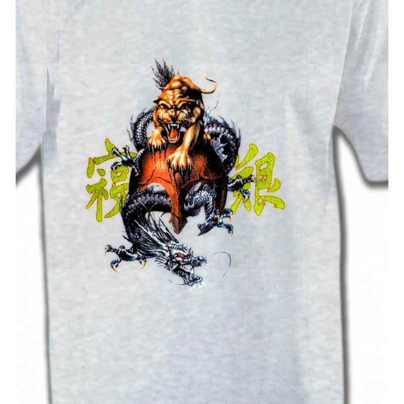 t shirt et sweat shirt avec dragon panth re et symboles chinois. Black Bedroom Furniture Sets. Home Design Ideas