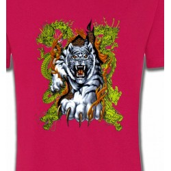 T-Shirts Tribal Métal Celtique Dragons et Tigre blanc (N3)