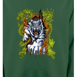 Sweatshirts Tribal Métal Celtique Dragons et Tigre blanc (N3)