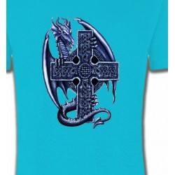 T-Shirts Tribal Métal Celtique Dragon et sa croix celtique (Y5)