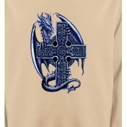 Sweatshirts Tribal Métal Celtique Dragon et sa croix celtique (Y5)