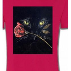 T-Shirts T-Shirts Col Rond Unisexe Chat noir avec rose (R2)