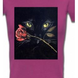 T-Shirts T-Shirts Col V Femmes Chat noir avec rose (R2)
