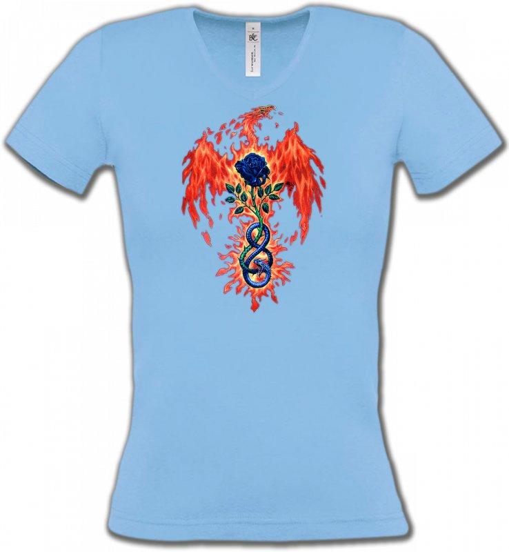 T-Shirts Col V FemmesDragonsDragon de feu (K4)