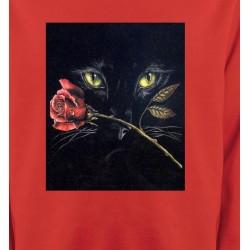 Sweatshirts Sweatshirts Unisexe Chat noir avec rose (R2)