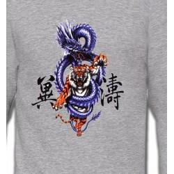 Sweatshirts Tribal Métal Celtique Dragon bleu chinois (W2)