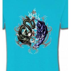 T-Shirts Signes astrologiques Dragons bleu et vert (W4)