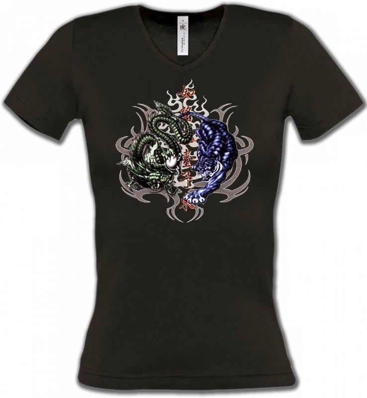 T-Shirts Col V FemmesSignes astrologiquesDragons bleu et vert (W4)
