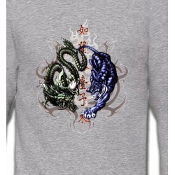 Sweatshirts Tribal Métal Celtique Dragons bleu et vert (W4)