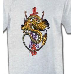 T-Shirts Tribal Métal Celtique Dragon chinois et épée