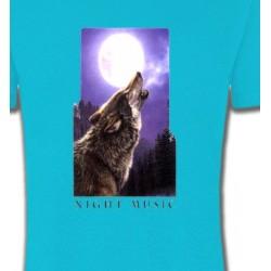 T-Shirts Animaux de la nature Loup pleine lune (D)