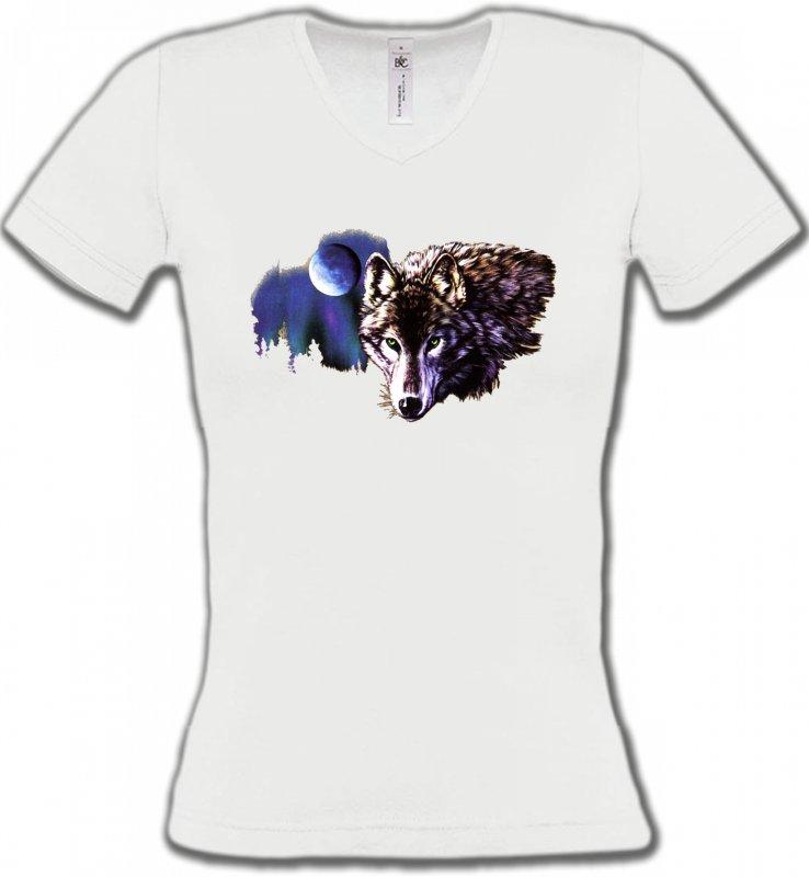 T-Shirts Col V FemmesLoupsLa nuit du loup (S2-C)