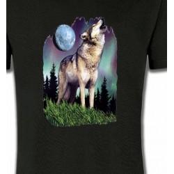T-Shirts Animaux de la nature Loup  sous la lune  (B)