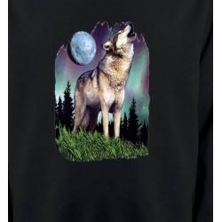 Sweatshirts Animaux de la nature Loup  sous la lune  (B)